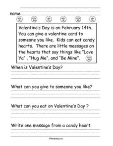Valentine's Day Comprehension Worksheet