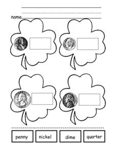 St. Patrick's Day Money Activity Worksheet