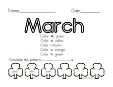 Coloring: The Month of March Worksheet