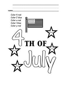 Fourth of July Color Words Worksheet