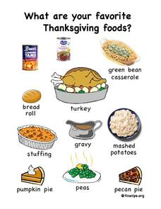 Favorite Thanksgiving Foods Worksheet
