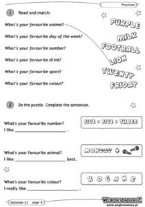 Favorite Matching Worksheet