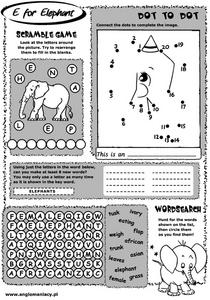 E for Elephant Worksheet