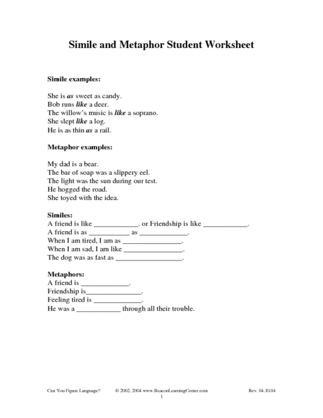 Simile and Metaphor Student Worksheet Worksheet for 4th - 6th ...
