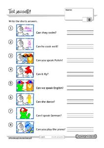 Test Yourself! Write Short Answers Worksheet
