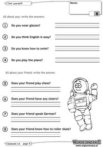 All About You: Write the Answers Worksheet