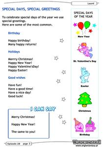 Special Days, Special Greetings Worksheet