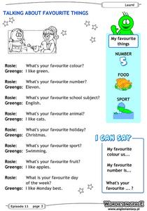Talking About Favorite Things Worksheet