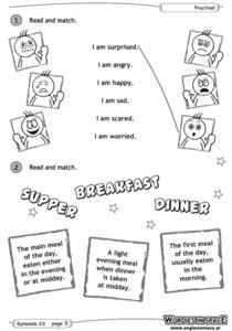 Read and Match: Facial Expressions Worksheet