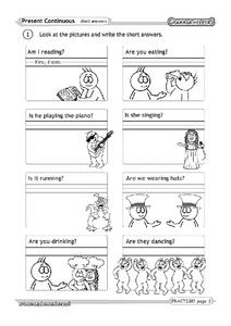 Present Continuous: Short Answers Worksheet