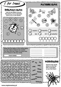 I for Insect Worksheet