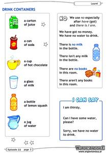 Drink Containers Worksheet