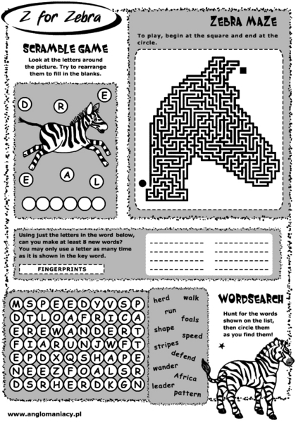 Z for Zebra Worksheet