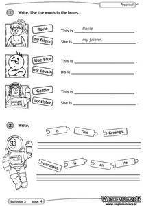 Sentence Completion - Wordies in Space Worksheet