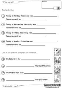Days of the Week - Yesterday, Today and Tomorrow Worksheet