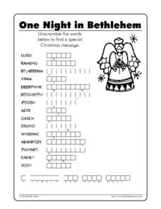 One Night in Bethlehem - Word Scramble Worksheet