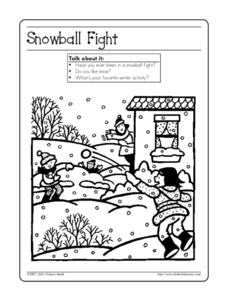 Snowball Fight - Coloring and Discussion Page Worksheet
