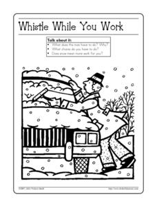 Whistle While you Work - Winter Coloring Worksheet Worksheet