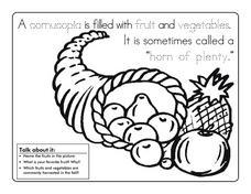 Cornucopia Coloring Sheet Worksheet