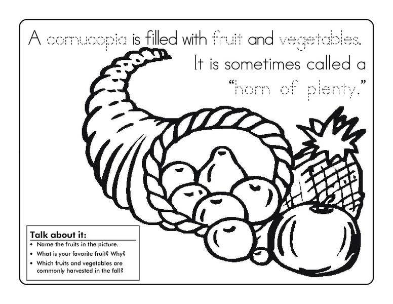 Cornucopia Coloring Sheet Worksheet for Kindergarten - 2nd ...