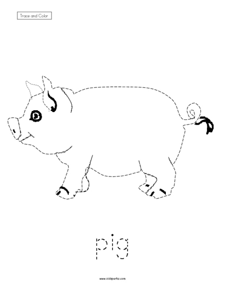 Trace and Color: Pig Worksheet