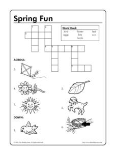 Spring Fun Crossword Puzzle Worksheet