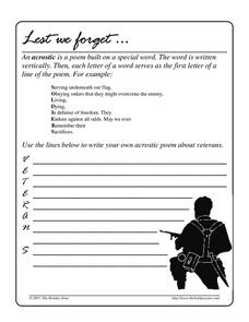 Lest We Forget Worksheet