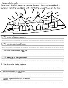 Synonym Sentences Worksheet