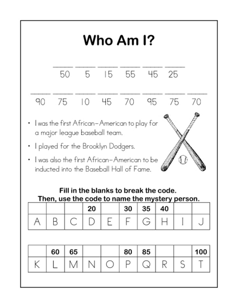 Who Am I? Jackie Robinson Worksheet for 2nd - 3rd Grade ...