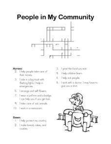 People in My Community Crosswords Puzzle Worksheet