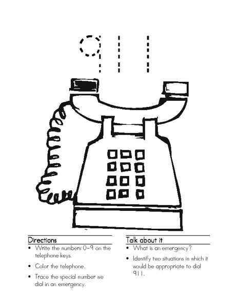 Writing the Numbers 0-9; Using 911 Worksheet for