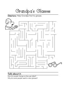 Grandpa's Glasses Worksheet