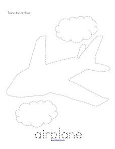 Trace and Color: Airplane Worksheet