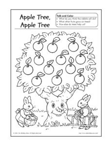 Apple Tree, Apple Tree Talk and Color Worksheet for Pre-K