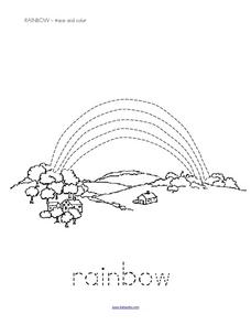 Trace and Color: Rainbow Worksheet