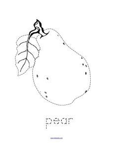 Trace and Color: Pear Worksheet