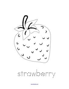 Trace and Color: Strawberry Worksheet