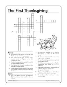 The First Thanksgiving: Crossword Worksheet