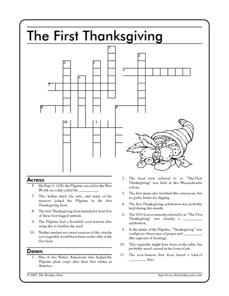 photograph relating to Thanksgiving Crossword Puzzle Printable named The 1st Thanksgiving: Crossword Worksheet for 3rd - 5th