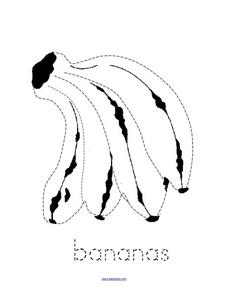 Trace and Color: Bananas Worksheet