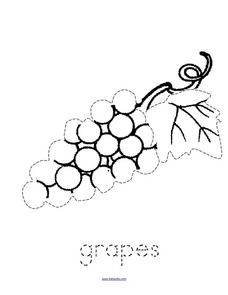 Trace and Color: Grapes Worksheet