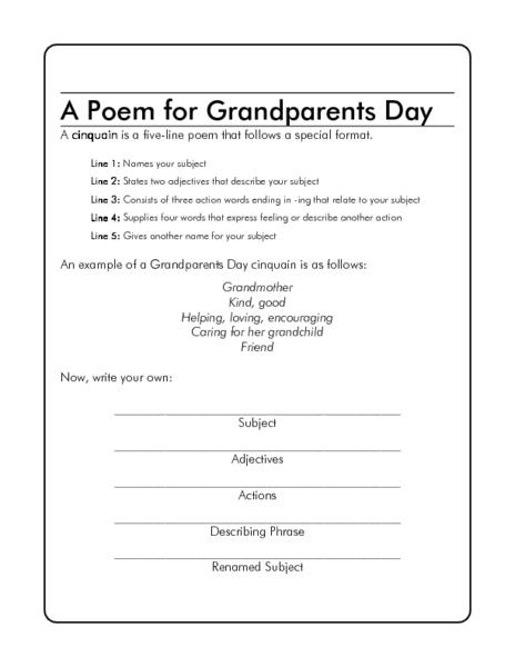 a poem for grandparents day worksheet for 1st 5th grade lesson planet. Black Bedroom Furniture Sets. Home Design Ideas