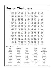 Easter Challenge Word Search Worksheet