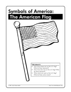 Symbols of america the american flag worksheet for 1st for American flag coloring page for first grade