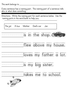 Sentences: The Naming Part Worksheet