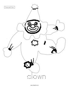 Trace and Color: Clown Worksheet