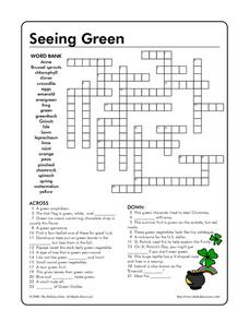 Seeing Green Crossword Puzzle Worksheet