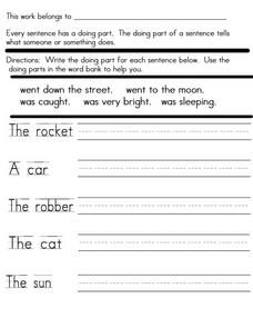 Sentences: Predicates Worksheet