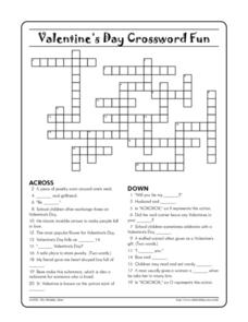 Rare image in valentine's day crossword puzzle printable