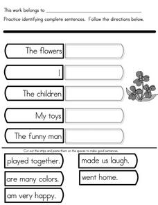 Writing Conventions: Complete Sentences Worksheet